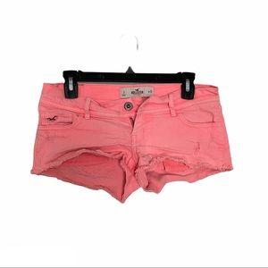 Hollister low rise raw hem shorts hot pink 3